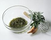 Herb Vinaigrette in Glass Bowl