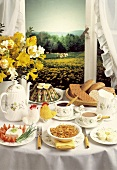 Breakfast Table Facing a Window; Field of Flowers