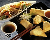 Spring Rolls with Soy Sauce and Mixed Vegetables