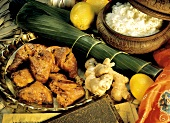 Tandoori Chicken; Ingredients and a Bowl of Rice
