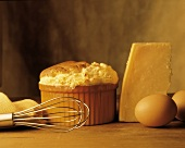 Small Cheese Souffle with Ingredients; Whisk