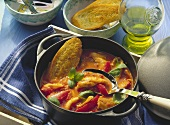 Sole and tomato ragout with basil and fried bread