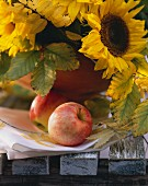 Two Apples with Sunflowers