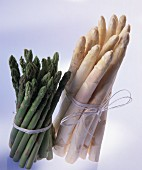 Two Bundles of Asparagus; One White and One Green