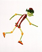 Vegetables Forming a Man Jogging