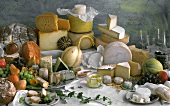 Still Life of Assorted Cheese; Fruit