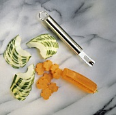 Vegetable Knife with Carved Carrot and Cucumber