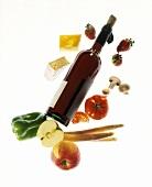 Gemüse, Obst, Käse & eine Flasche Wein