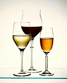 Filled glasses: white wine glass, burgundy glass & sherry glass