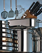 Assorted Pots and Pans; Kitchen Tools