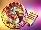 Festive marzipan gateau with various fillings