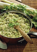 Celery risotto in pan