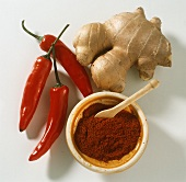 Chili Peppers Ginger Root and Paprika
