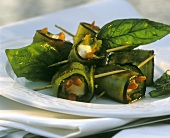 Aubergine rolls stuffed with cheese