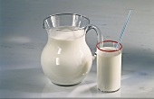 Milk in a Pitcher and in a Glass with a Straw