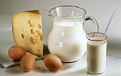 Still Life of Milk and Eggs; Cheese
