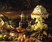 Buffet a l'Escoffier with lobster, game pate, sweets, cake