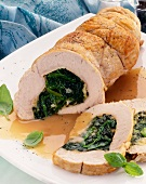 Turkey roll stuffed with spinach