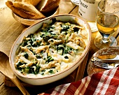 French chard gratin with chicken strips and cheese