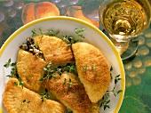 Potato piroshki (potato pasties) with mushrooms and thyme