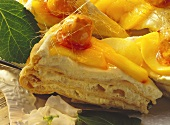 A few pieces of peach cream gateau decorated with caramel