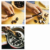 Stuffing olives with soft cheese and heating