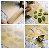 Making pasta dough with basil leaves