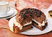Chocolate ice cream gateau with hazelnuts, a piece cut
