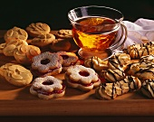 Almond biscuits, Spitzbuben & piped biscuits & a glass of tea
