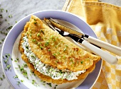 Stuffed potato pancake with chive quark