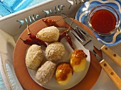 Canarian boiled potatoes with salt crust and red mojo sauce