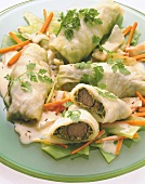 Cabbage roulades stuffed with saddle of hare