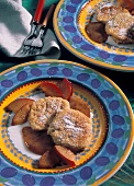Quark biscuits with plum puree and plum wedges