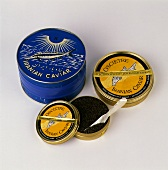 Iranian black caviar in three different tins