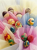 Decorated marzipan eggs for Easter