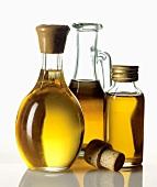 Nut oils in three different bottles