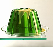 Woodruff jelly on glass plate