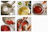 Making grappa & raspberry sorbet