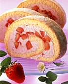 Strawberry sponge roll, three slices