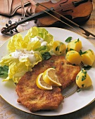 Wiener Schnitzel (veal escalope), lettuce & parsley potatoes