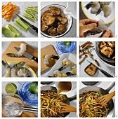 Preparing stuffed jumbo prawns with Asian vegetables