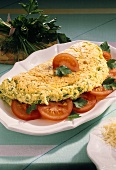 Omelet Stuffed with Cheese and Tomatoes