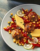Meatballs, sweetcorn, polenta diamonds, corn & pepper sauce