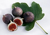 Fresh Figs with a Fig Leaf