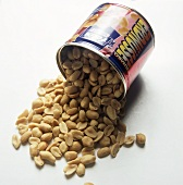 Peanuts falling out of a tin