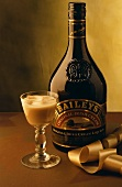 Baileys in bottle and sherry glass