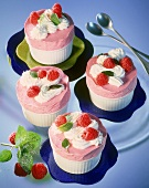 Raspberry ice cream souffles with cream & raspberries