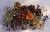 Dried herbs and fruits (for tea) in plastic bags