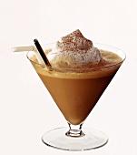 Mocha milk shake in cocktail glass with straw & cream