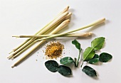 Lemon grass, lemon leaves & ground lemon leaves
